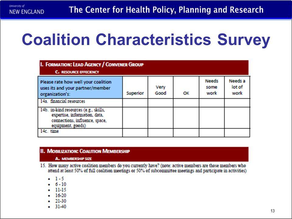 Coalition Characteristics Survey 13