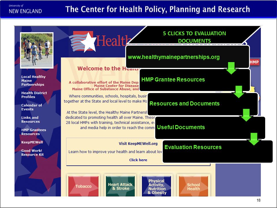 18 5 CLICKS TO EVALUATION DOCUMENTS www.healthymainepartnerships.org HMP Grantee ResourcesResources and DocumentsUseful Documents Evaluation Resources