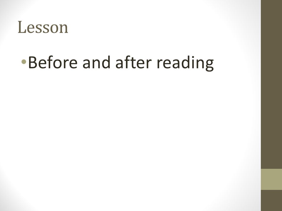 Lesson Before and after reading