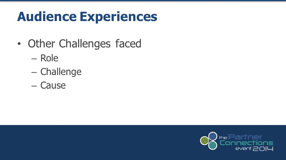 Other Challenges faced – Role – Challenge – Cause Audience Experiences