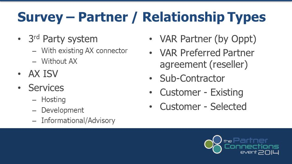 3 rd Party system – With existing AX connector – Without AX AX ISV Services – Hosting – Development – Informational/Advisory Survey – Partner / Relationship Types VAR Partner (by Oppt) VAR Preferred Partner agreement (reseller) Sub-Contractor Customer - Existing Customer - Selected