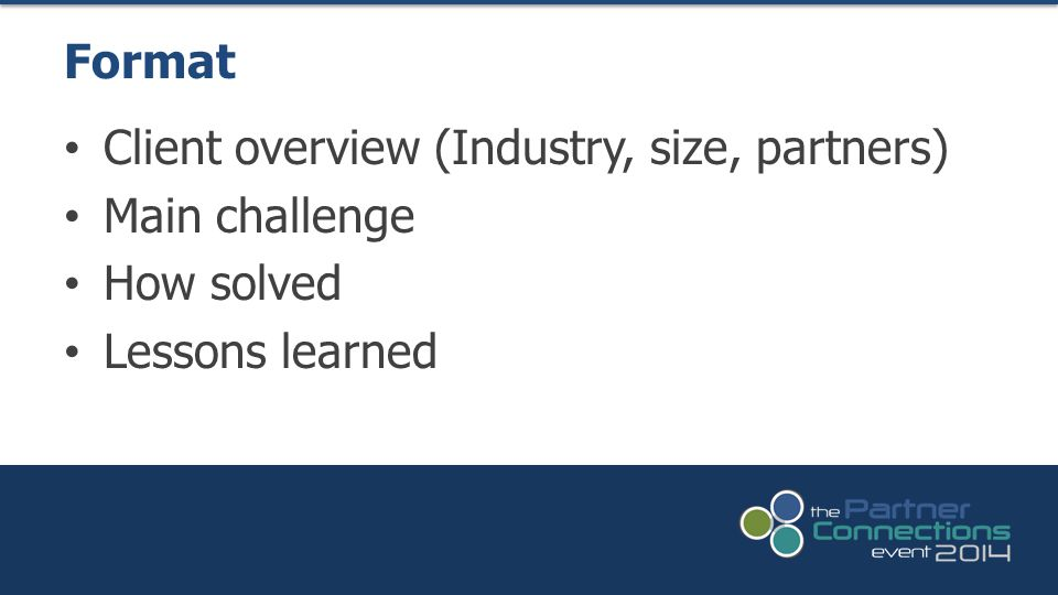 Client overview (Industry, size, partners) Main challenge How solved Lessons learned Format