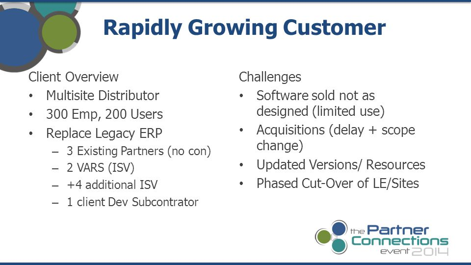 Client Overview Multisite Distributor 300 Emp, 200 Users Replace Legacy ERP – 3 Existing Partners (no con) – 2 VARS (ISV) – +4 additional ISV – 1 client Dev Subcontrator Rapidly Growing Customer Challenges Software sold not as designed (limited use) Acquisitions (delay + scope change) Updated Versions/ Resources Phased Cut-Over of LE/Sites