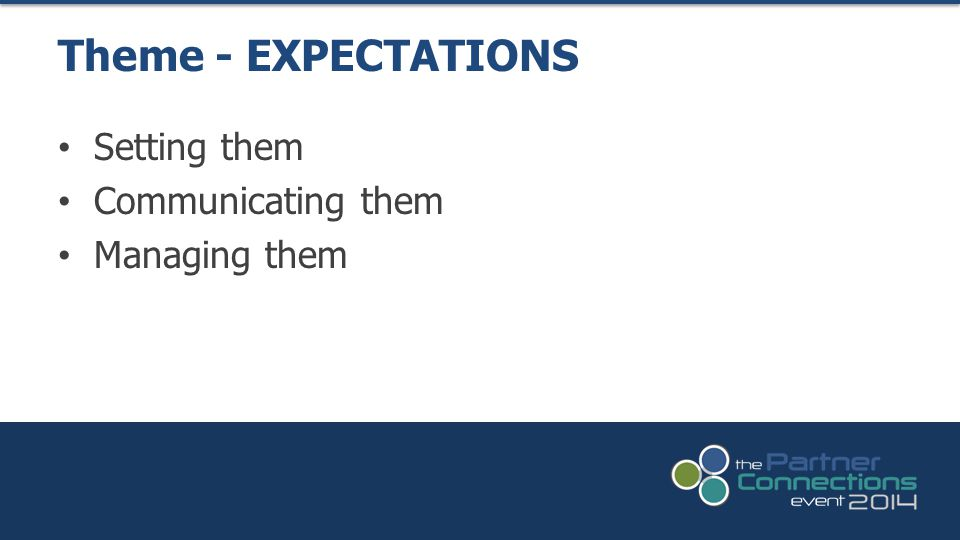 Setting them Communicating them Managing them Theme - EXPECTATIONS