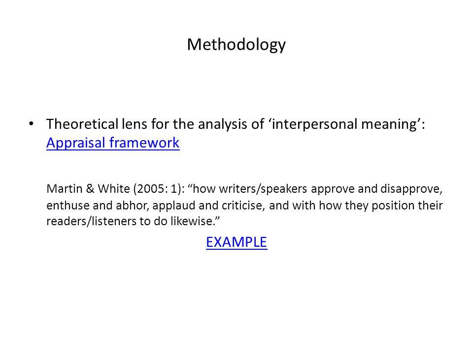 """Methodology Theoretical lens for the analysis of 'interpersonal meaning': Appraisal framework Appraisal framework Martin & White (2005: 1): """"how write"""