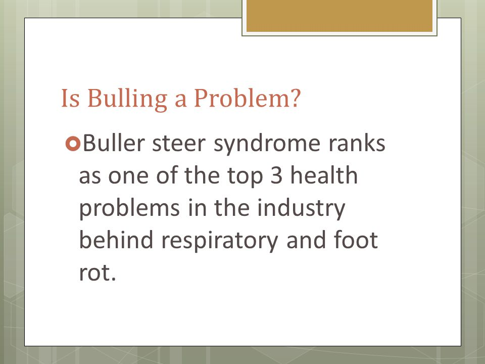Problems from Bulling  Exhaustion  Hair Loss  Swelling and trauma to rump and tail head  Broken Bones  2.5 x more likely to become sick/chronic  Death