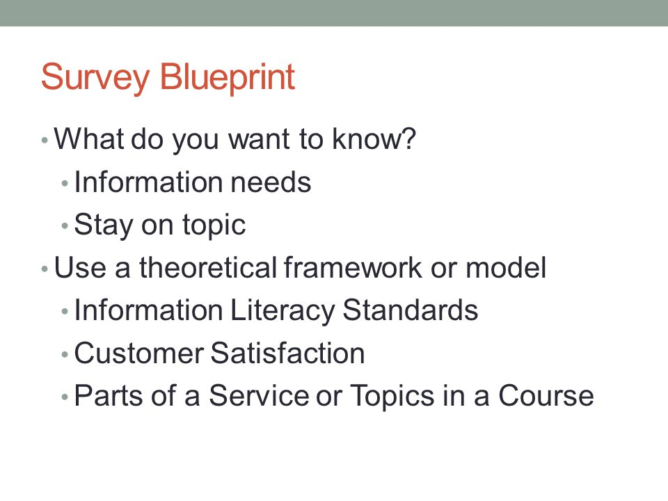 Survey Blueprint What do you want to know.
