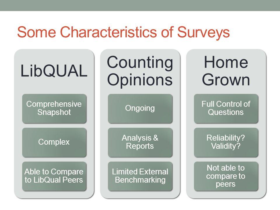 Some Characteristics of Surveys