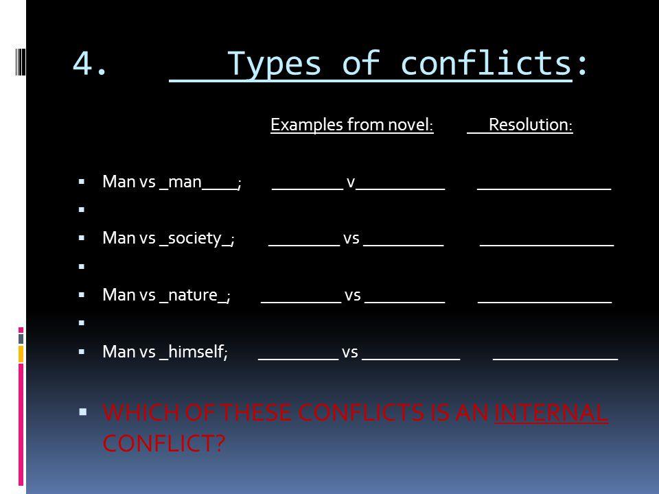 4. Types of conflicts: Examples from novel: Resolution:  Man vs _man____; ________ v__________ _______________   Man vs _society_; ________ vs ____