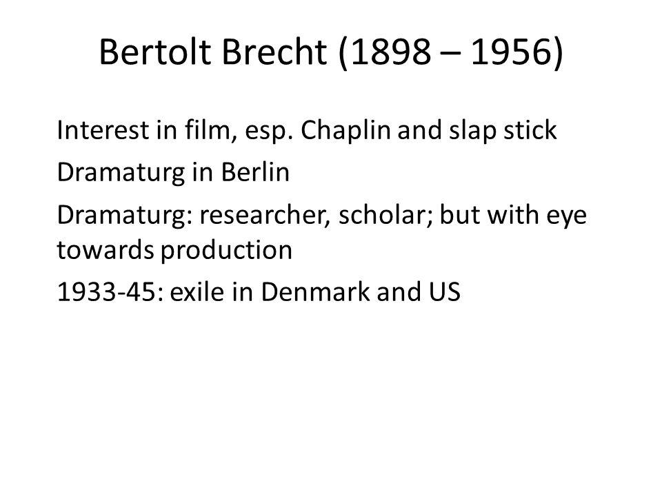 Bertolt Brecht (1898 – 1956) Interest in film, esp.