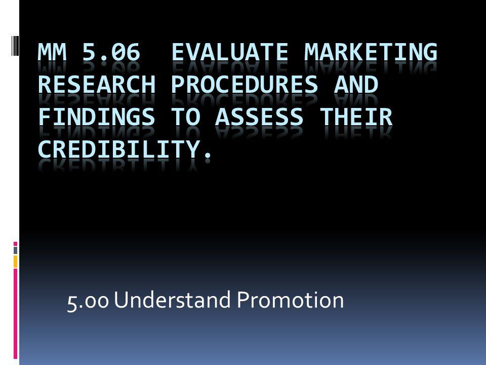 5.00 Understand Promotion