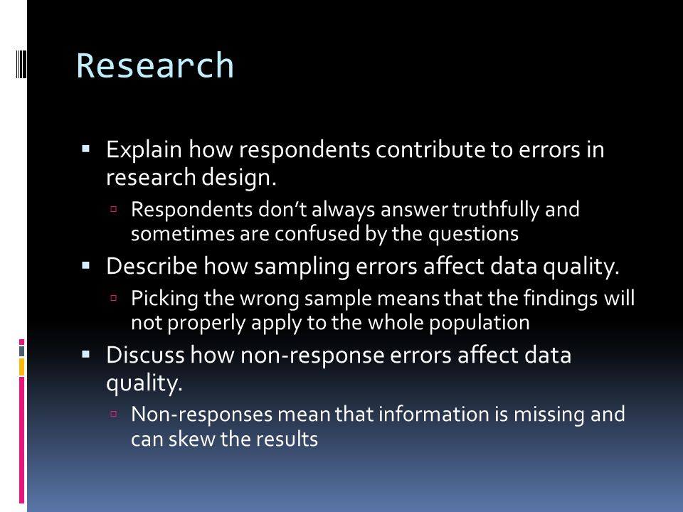 Research  Explain how coverage errors affect data quality.