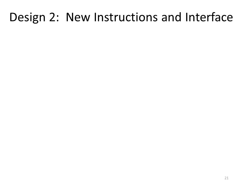 Design 2: New Instructions and Interface 21