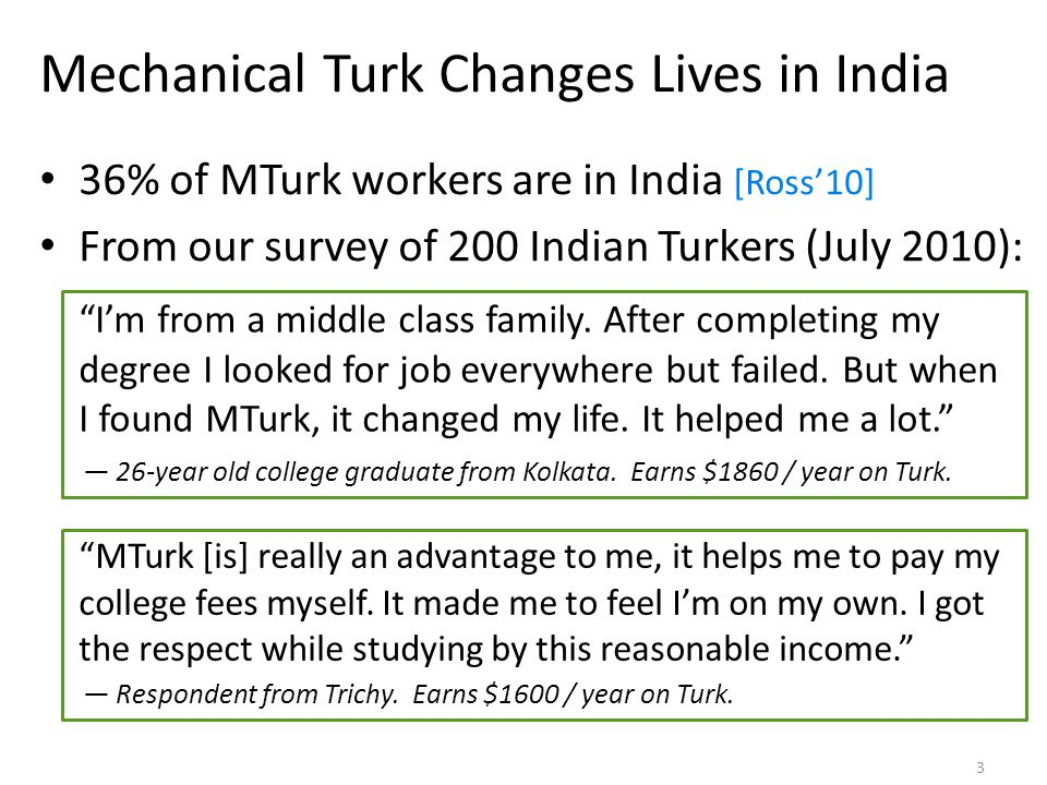 Mechanical Turk Changes Lives in India 36% of MTurk workers are in India [Ross'10] From our survey of 200 Indian Turkers (July 2010): I'm from a middle class family.