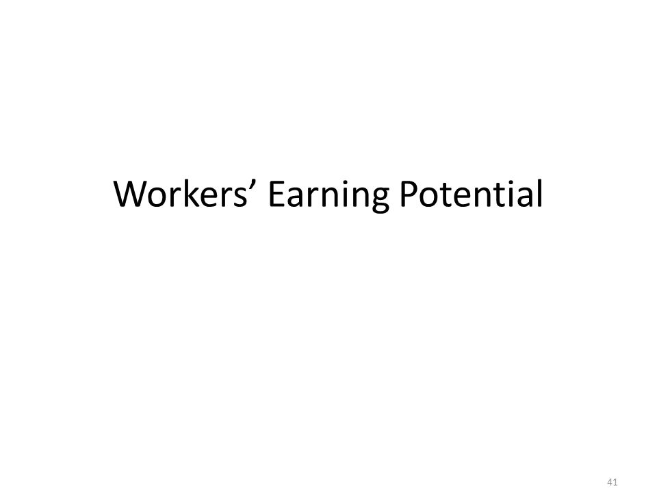 Workers' Earning Potential 41