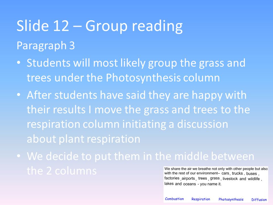 Slide 12 – Group reading Paragraph 3 Students will most likely group the grass and trees under the Photosynthesis column After students have said they are happy with their results I move the grass and trees to the respiration column initiating a discussion about plant respiration We decide to put them in the middle between the 2 columns