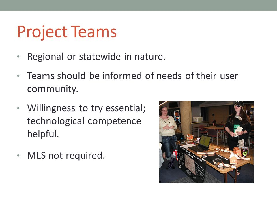 Mentors One mentor per project team.Keep participants motivated and teams harmonious.