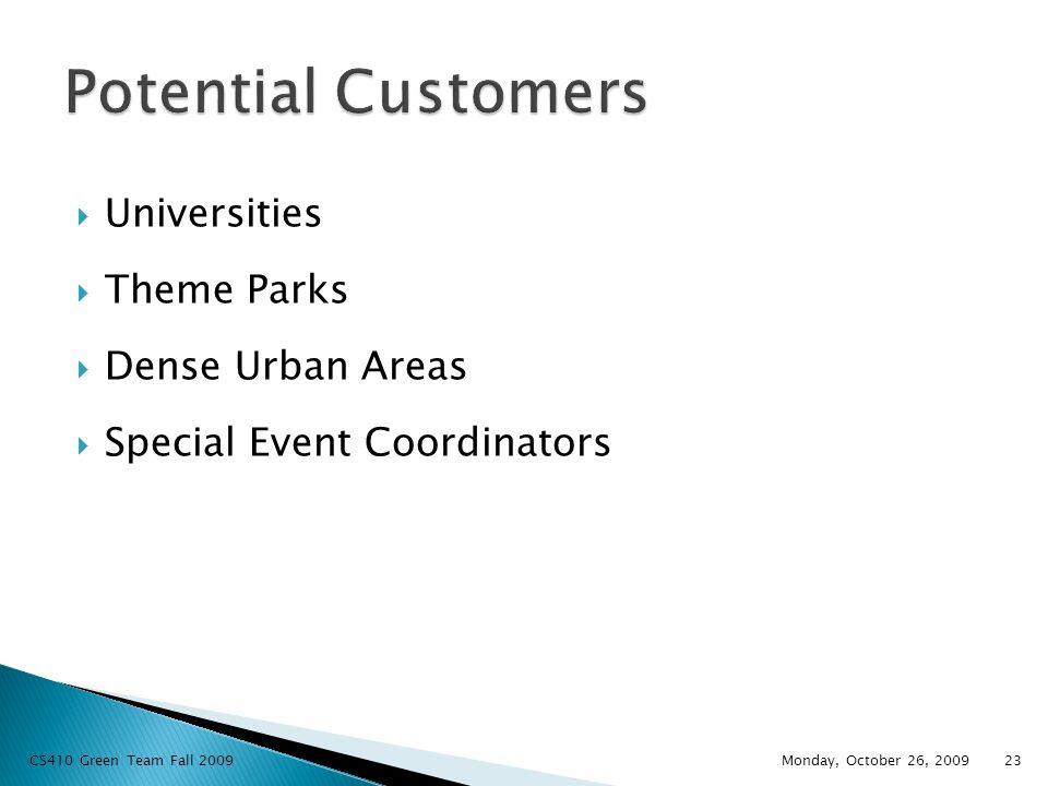  Universities  Theme Parks  Dense Urban Areas  Special Event Coordinators Monday, October 26, 2009 23 CS410 Green Team Fall 2009