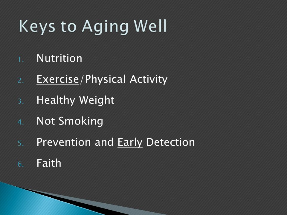 1. Nutrition 2. Exercise/Physical Activity 3. Healthy Weight 4.