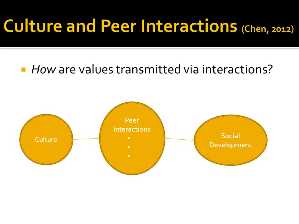  How are values transmitted via interactions? Culture Peer Interactions Social Development