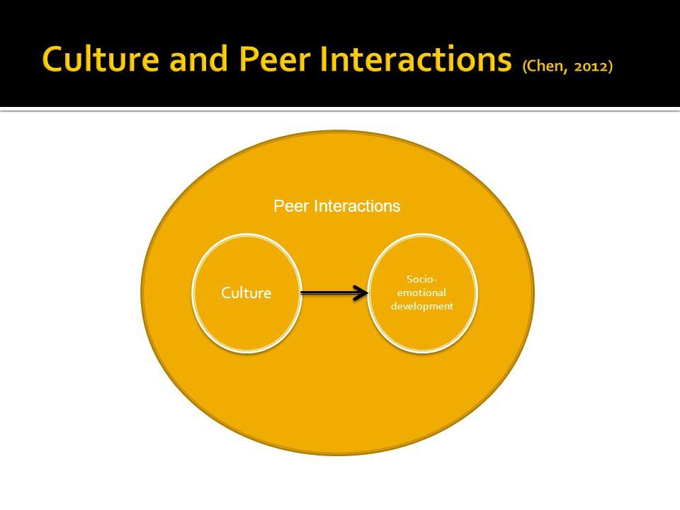 Culture Socio- emotional development Peer Interactions