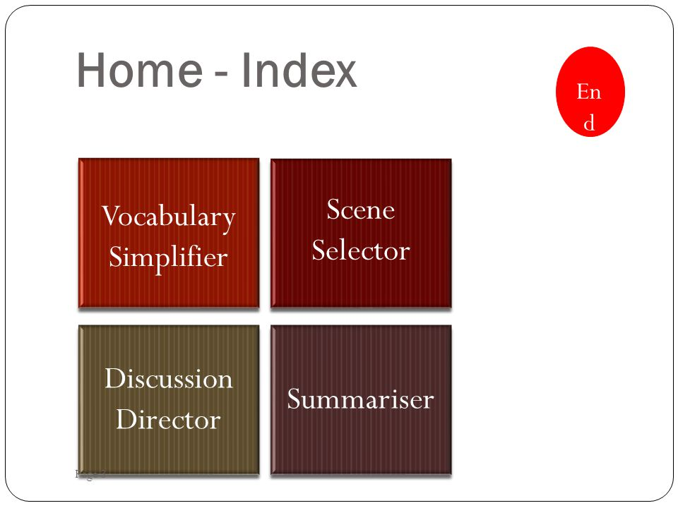 Home - Index Vocabulary Simplifier Scene Selector Discussion Director Summariser Page 3 En d