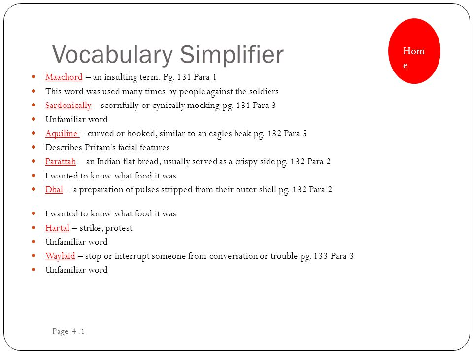 Vocabulary Simplifier Maachord – an insulting term.