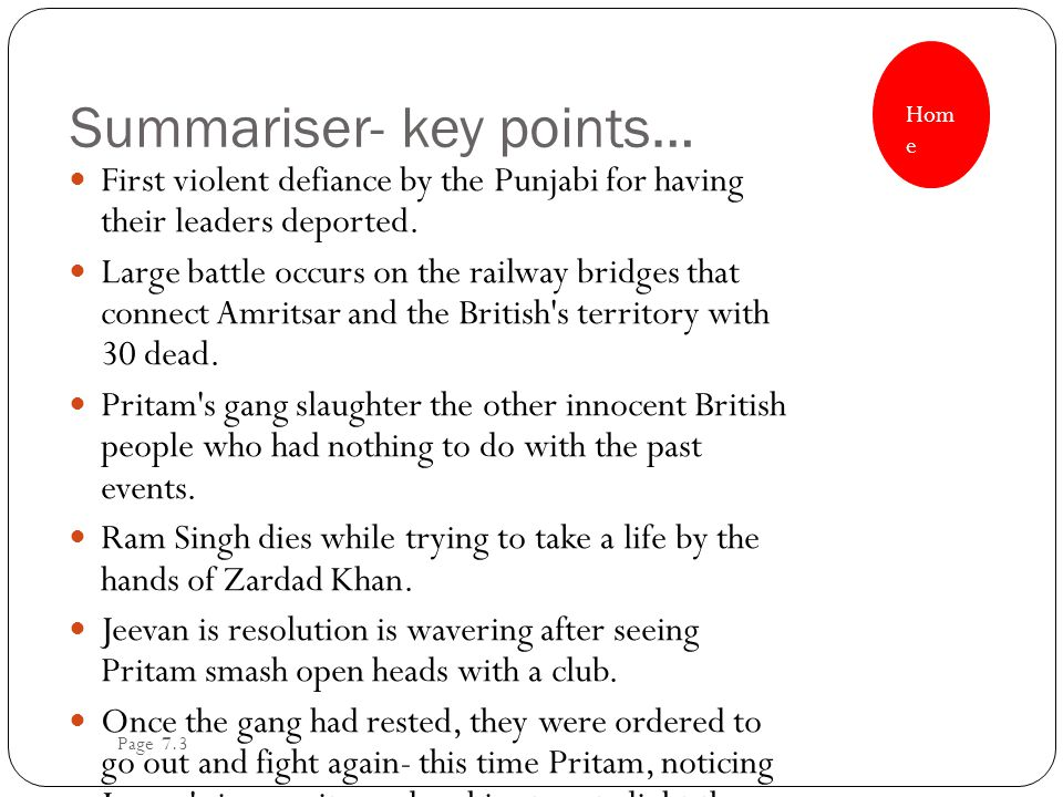 Summariser- key points… First violent defiance by the Punjabi for having their leaders deported. Large battle occurs on the railway bridges that conne