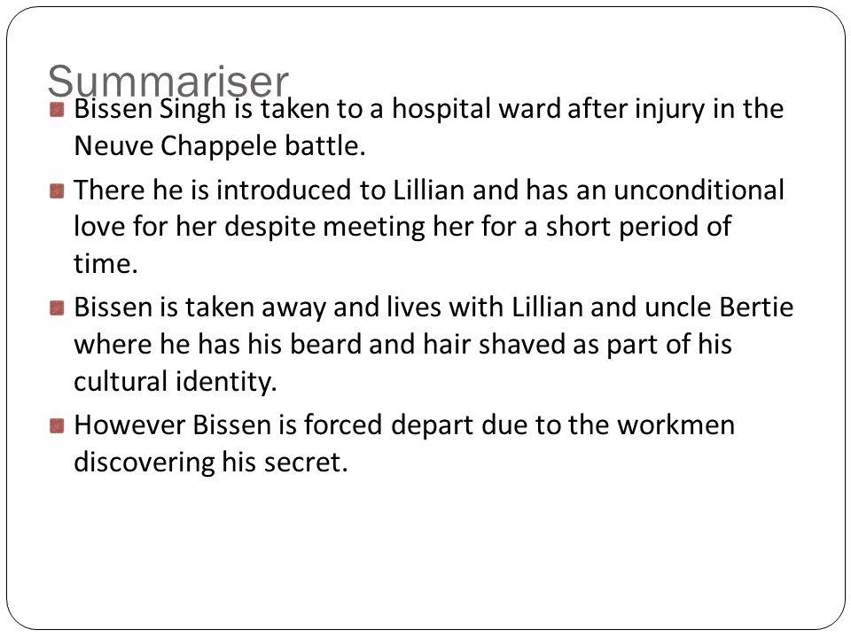 Summariser Bissen Singh is taken to a hospital ward after injury in the Neuve Chappele battle.