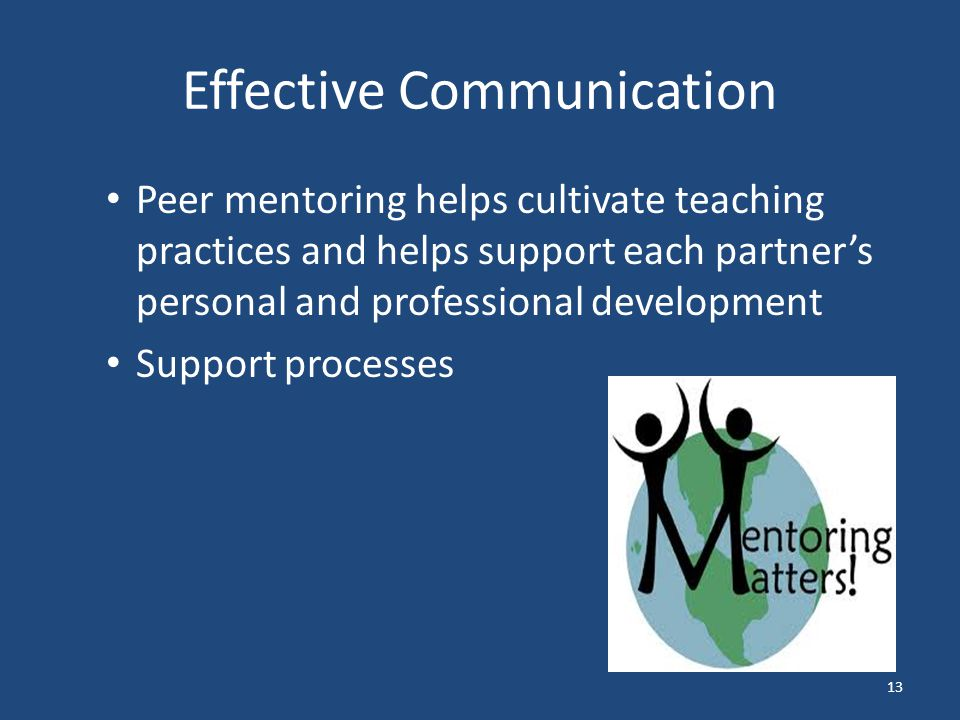 Effective Communication Peer mentoring helps cultivate teaching practices and helps support each partner's personal and professional development Support processes 13
