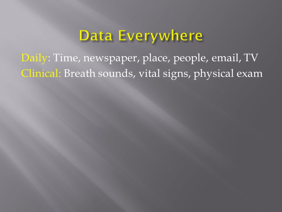Daily: Time, newspaper, place, people, email, TV Clinical: Breath sounds, vital signs, physical exam