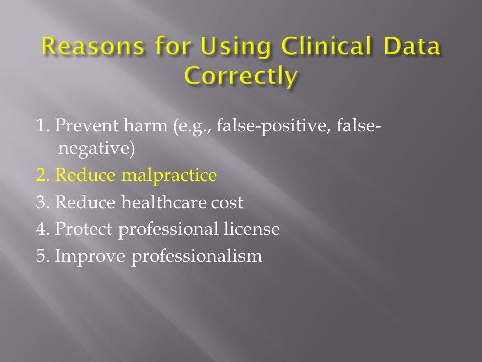 1. Prevent harm (e.g., false-positive, false- negative) 2. Reduce malpractice 3. Reduce healthcare cost 4. Protect professional license 5. Improve pro