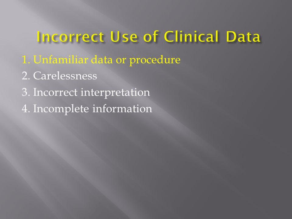 1. Unfamiliar data or procedure 2. Carelessness 3. Incorrect interpretation 4. Incomplete information