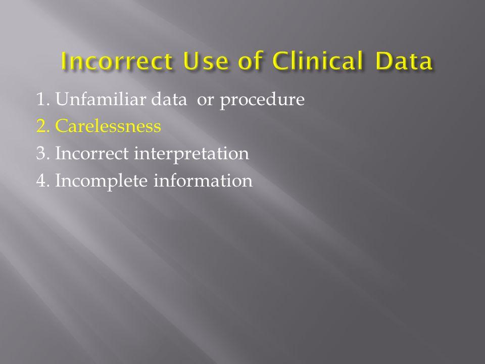 1. Unfamiliar data or procedure 2. Carelessness 3.
