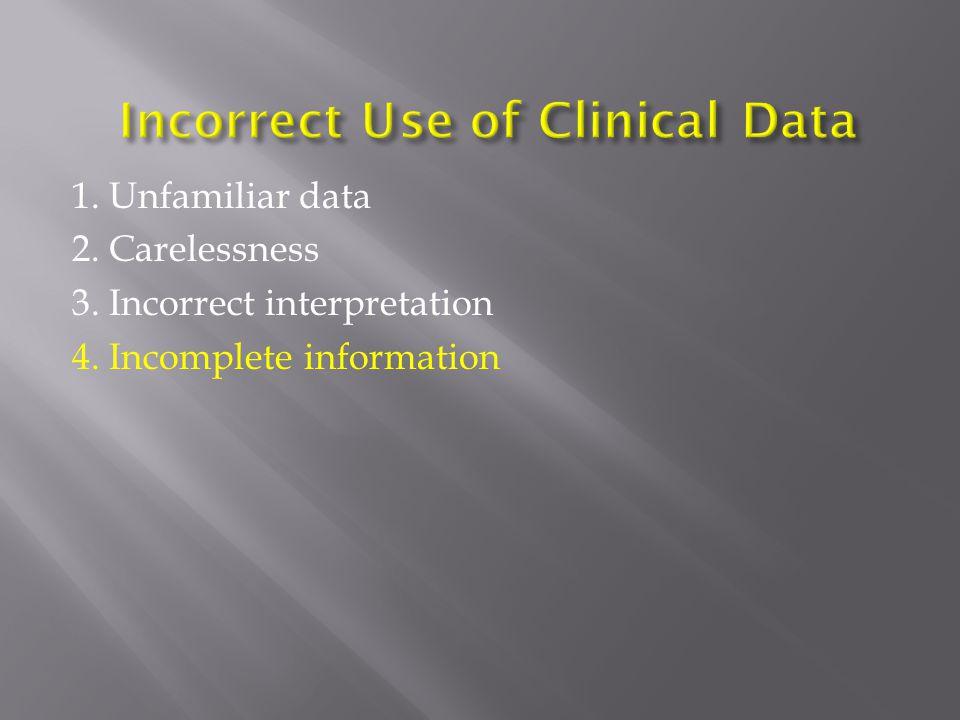 1. Unfamiliar data 2. Carelessness 3. Incorrect interpretation 4. Incomplete information