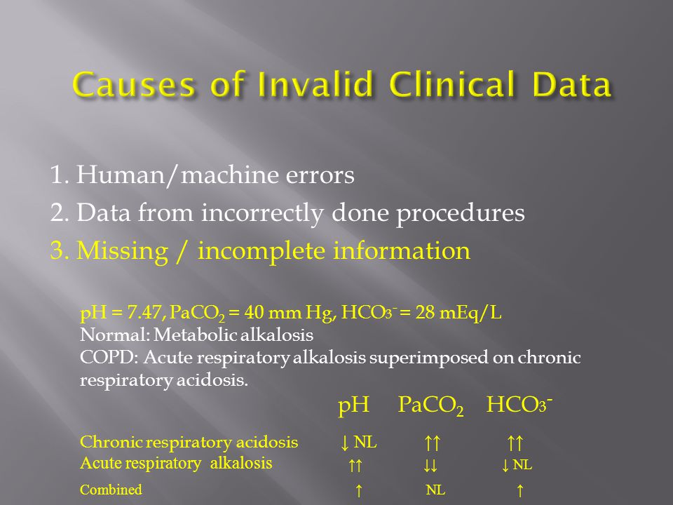 1. Human/machine errors 2. Data from incorrectly done procedures 3. Missing / incomplete information pH = 7.47, PaCO 2 = 40 mm Hg, HCO 3 - = 28 mEq/L