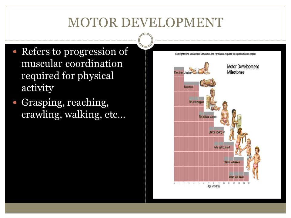 MOTOR DEVELOPMENT Refers to progression of muscular coordination required for physical activity Grasping, reaching, crawling, walking, etc…