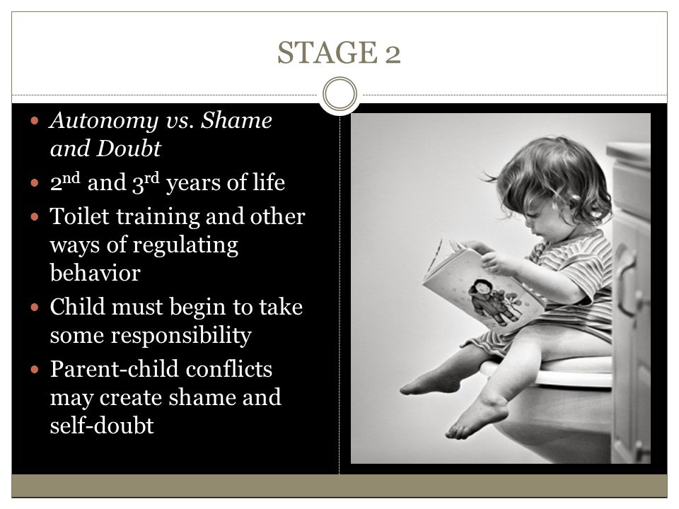 STAGE 2 Autonomy vs. Shame and Doubt 2 nd and 3 rd years of life Toilet training and other ways of regulating behavior Child must begin to take some r