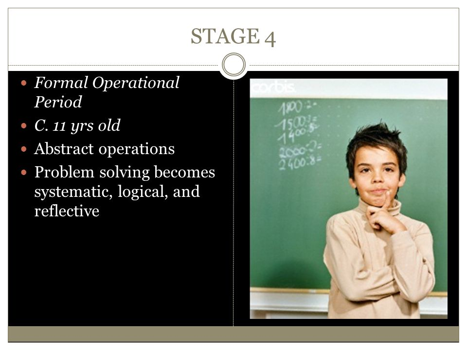 STAGE 4 Formal Operational Period C. 11 yrs old Abstract operations Problem solving becomes systematic, logical, and reflective