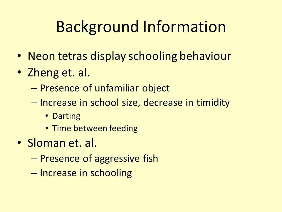 Background Information Neon tetras display schooling behaviour Zheng et.