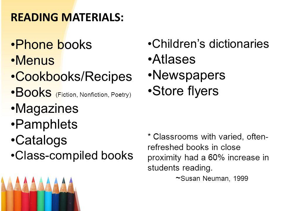 READING MATERIALS: Phone books Menus Cookbooks/Recipes Books (Fiction, Nonfiction, Poetry) Magazines Pamphlets Catalogs Class-compiled books Children'