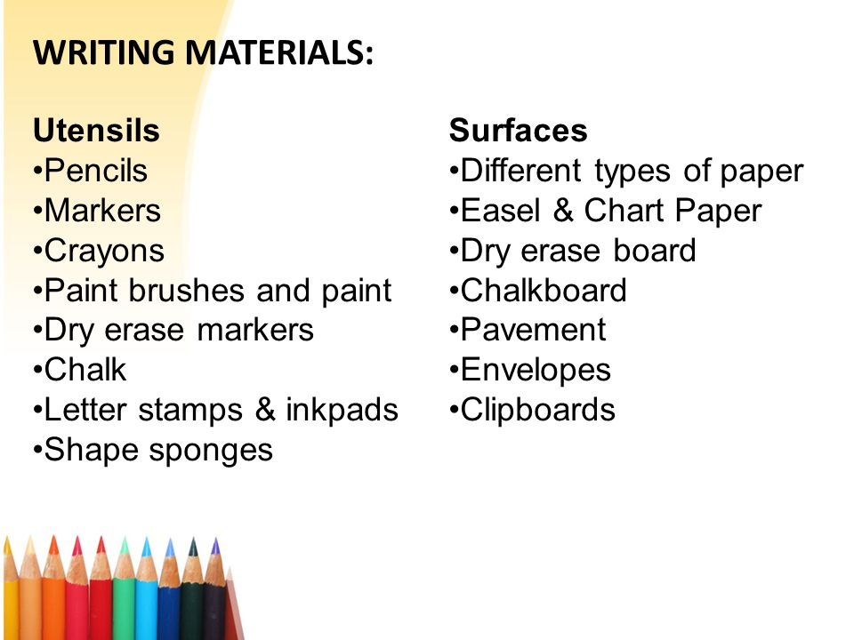 WRITING MATERIALS: Utensils Pencils Markers Crayons Paint brushes and paint Dry erase markers Chalk Letter stamps & inkpads Shape sponges Surfaces Different types of paper Easel & Chart Paper Dry erase board Chalkboard Pavement Envelopes Clipboards