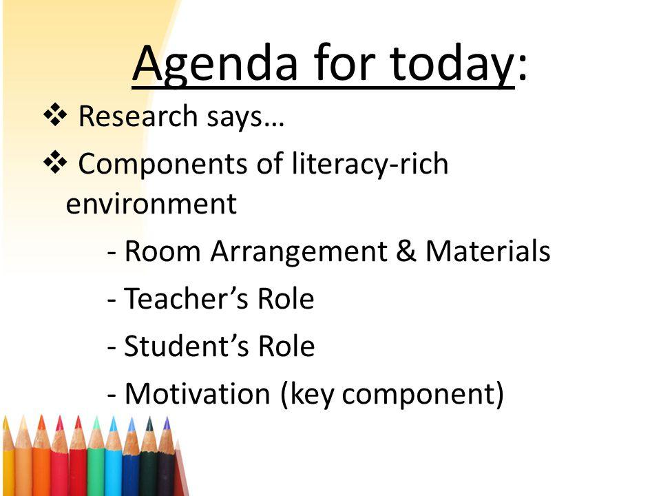  Research says…  Components of literacy-rich environment - Room Arrangement & Materials - Teacher's Role - Student's Role - Motivation (key componen