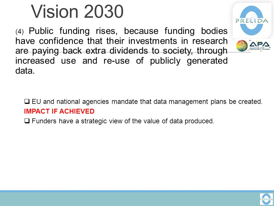 Vision 2030 (6) The public has access and can make creative use of the huge amount of data available; it can also contribute to the data store and enrich it.