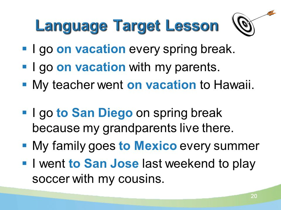  I go on vacation every spring break.  I go on vacation with my parents.
