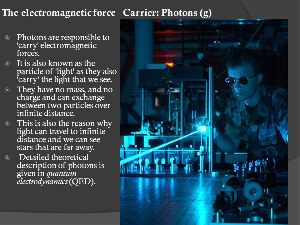 The electromagnetic force Carrier: Photons (g)  Photons are responsible to carry electromagnetic forces.