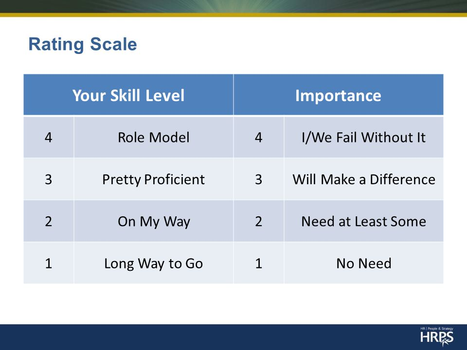 Rating Scale Your Skill LevelImportance 4Role Model4I/We Fail Without It 3Pretty Proficient3Will Make a Difference 2On My Way2Need at Least Some 1Long Way to Go1No Need