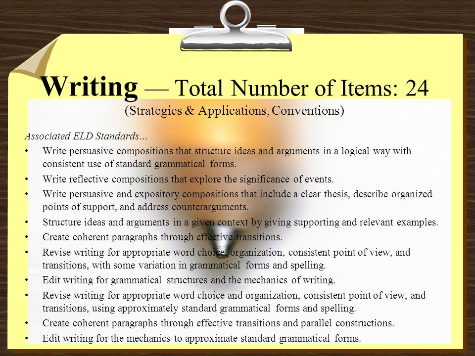 Writing — Total Number of Items: 24 (Strategies & Applications, Conventions) Associated ELD Standards… Write persuasive compositions that structure ideas and arguments in a logical way with consistent use of standard grammatical forms.