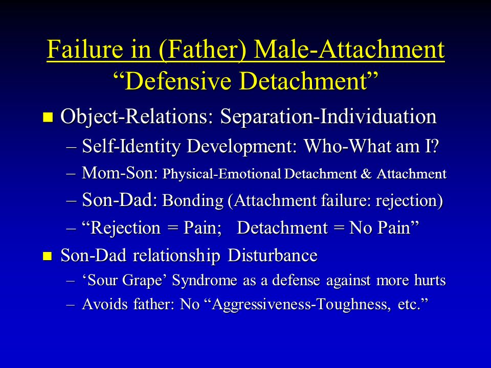 "Failure in (Father) Male-Attachment ""Defensive Detachment"" Object-Relations: Separation-Individuation Object-Relations: Separation-Individuation –Self"