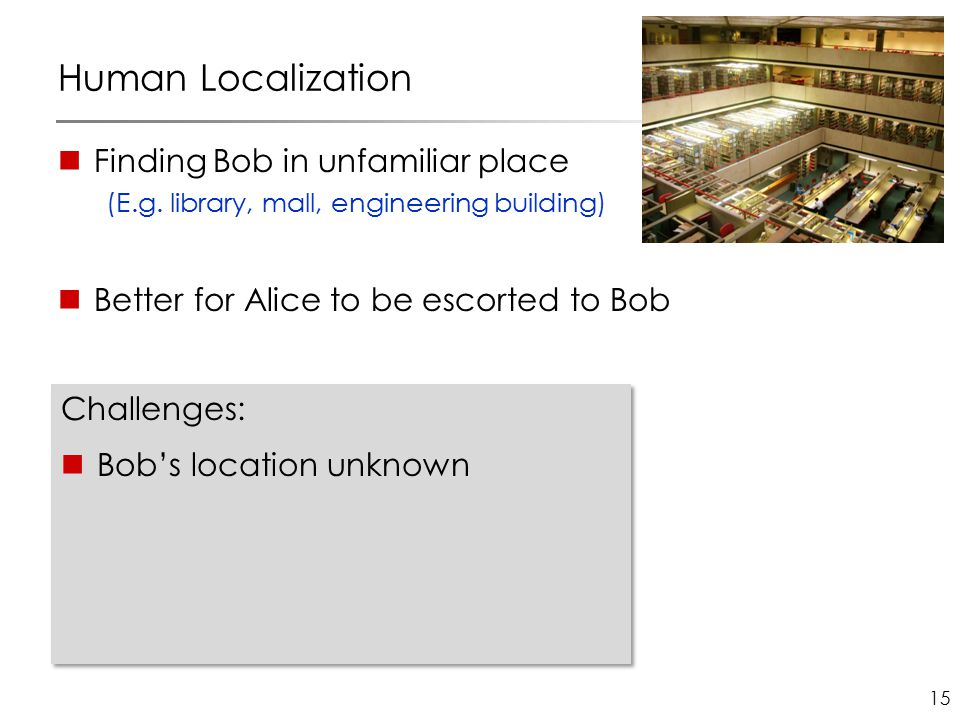 15 Human Localization Finding Bob in unfamiliar place (E.g. library, mall, engineering building) Better for Alice to be escorted to Bob Challenges: Bo